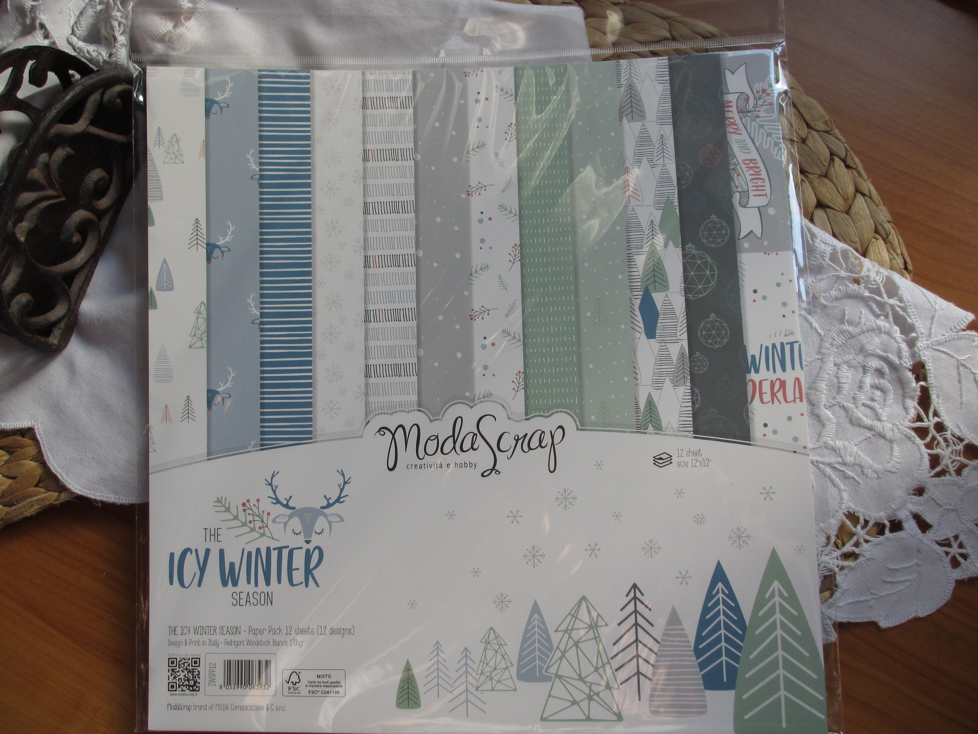 The Icy Winter, 12x12 sada scrapbookových papírů