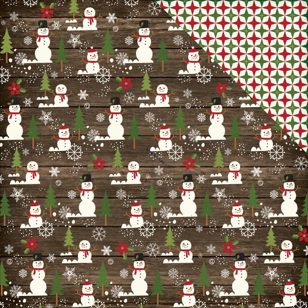 Echo Park - The Story Of Christmas - SNOWMAN - scrapbookový papír