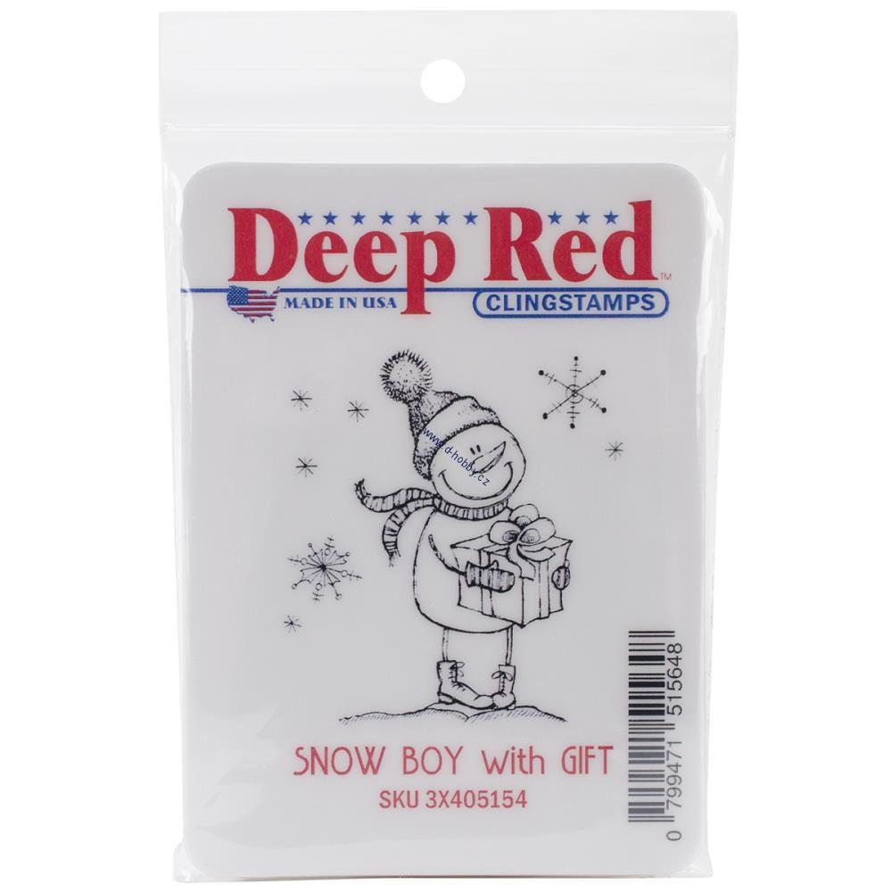 Deep Red - SNOW BOY WITH GIFT - cling razítko