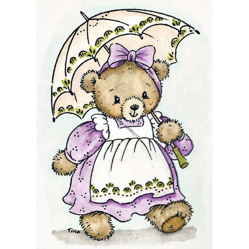 Stampavie Tina Wenke - Bear With Parasol - transparentní razítko