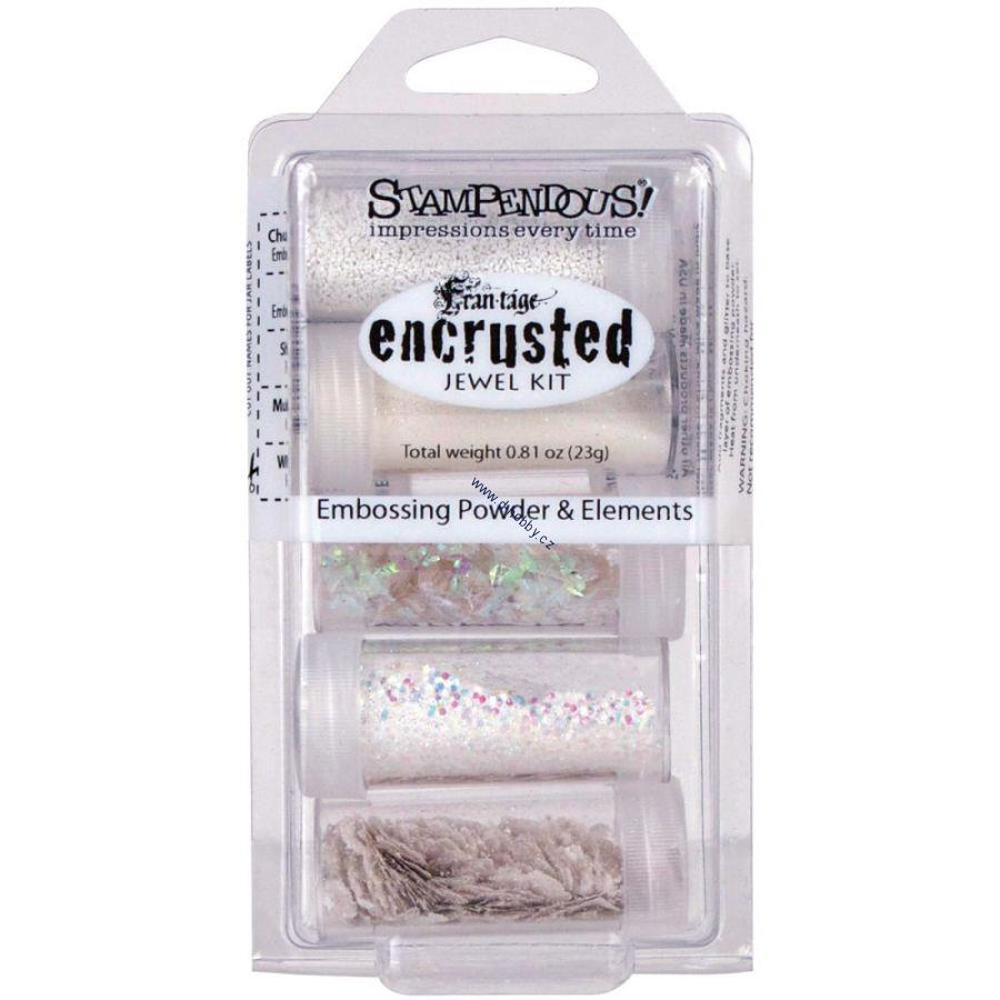 Stampendous - ENCRUSTED JEWEL KIT - WHITE - sada glitrů